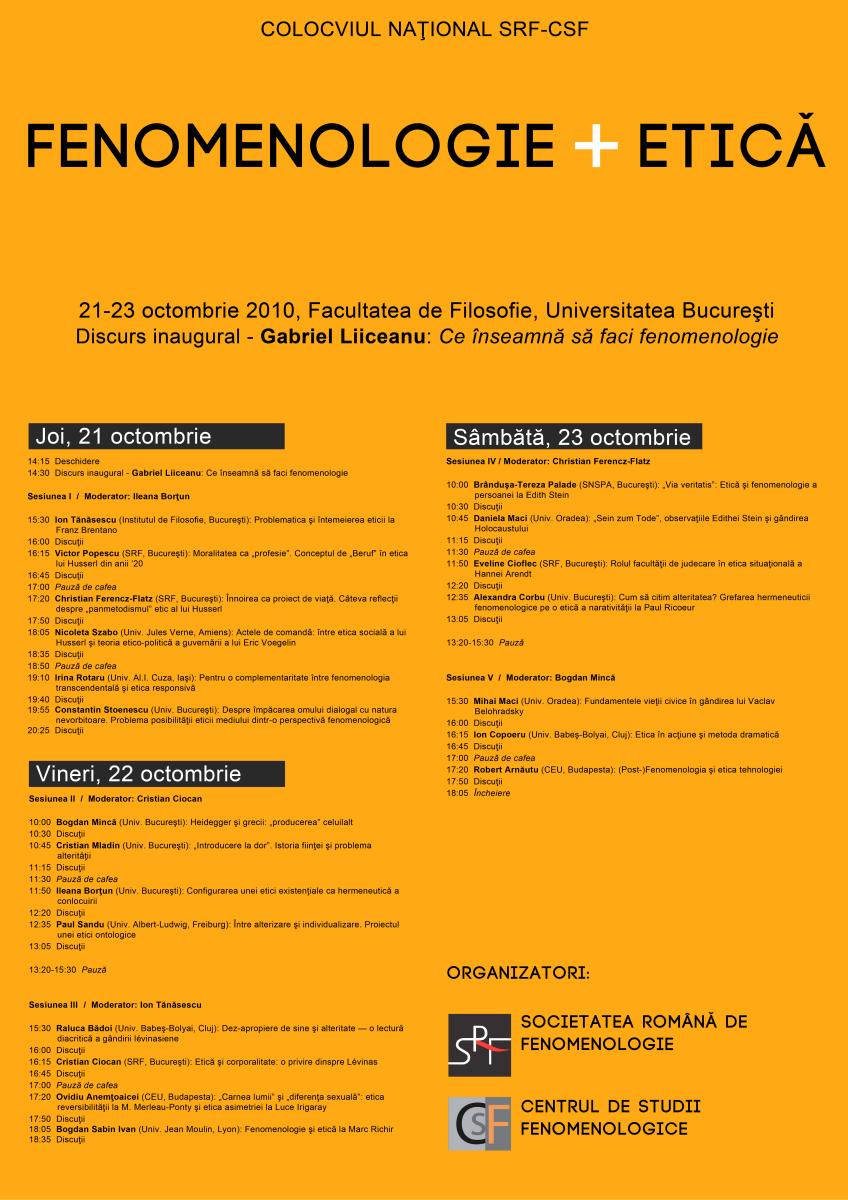 Fenomenologie si etica (21-23 octombrie 2010)