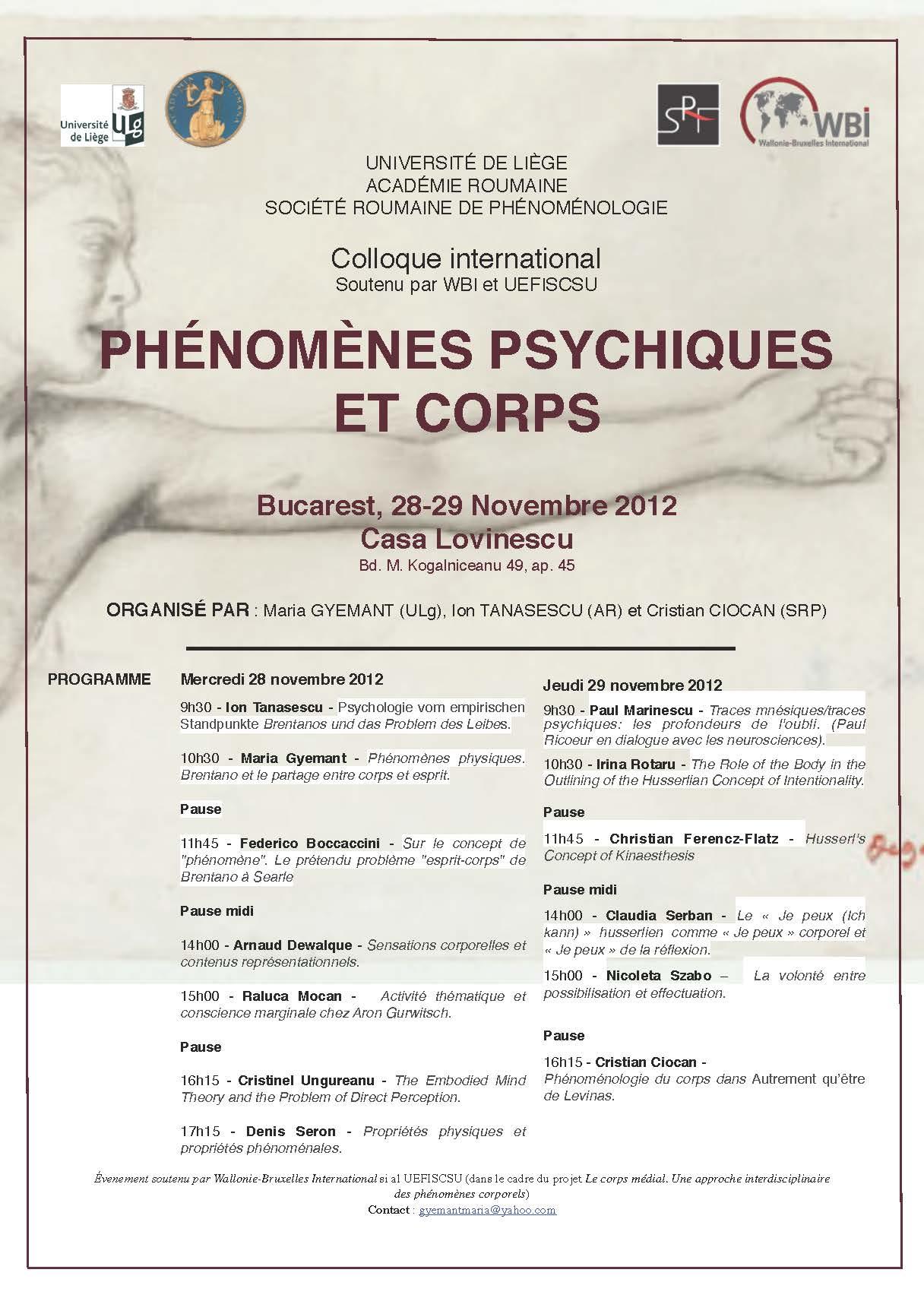 """Colloque international """"Phénomènes psychiques et corps"""""""